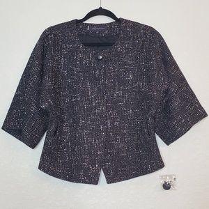 NEW AK ANNE KLEIN Black & White Tweed Jacket